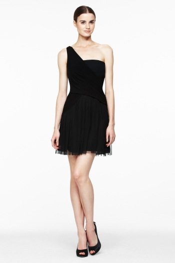 BCBG OneShoulder Crossover Dress 268 Feminine tulle and effortless jersey
