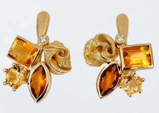 Mary Esses Citrine Bouquet Earrings