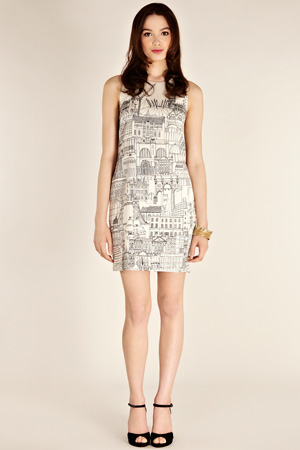 London Cityscape dress front