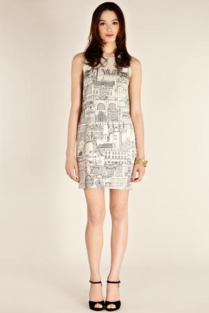 London Cityscape dress front