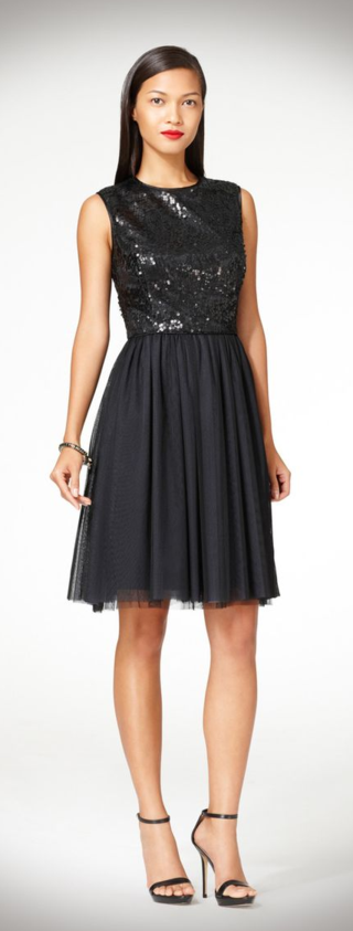 Maggy London Sequin Black Dress