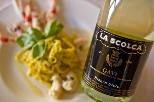 La Scolca Gavi Black label with food